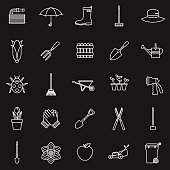 A set of 25 thin line icons in a contemporary style. The vector EPS file is built in the CMYK color space for optimal printing.