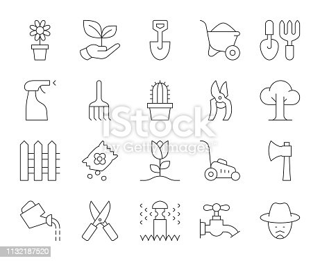 Gardening Thin Line Icons Vector EPS File.