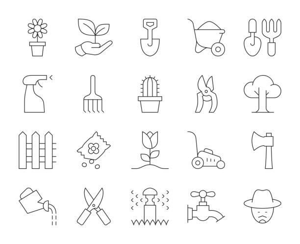 stockillustraties, clipart, cartoons en iconen met tuinieren-dunne lijn iconen - gieter