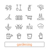 Gardening thin line icons. Vector set of plant growing, horticulture signs.