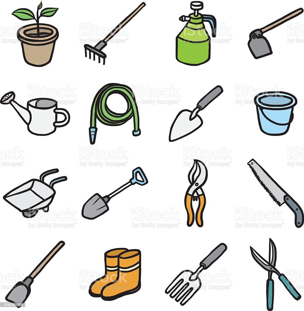 ic nes des objets et outils de jardinage ensemble. Black Bedroom Furniture Sets. Home Design Ideas