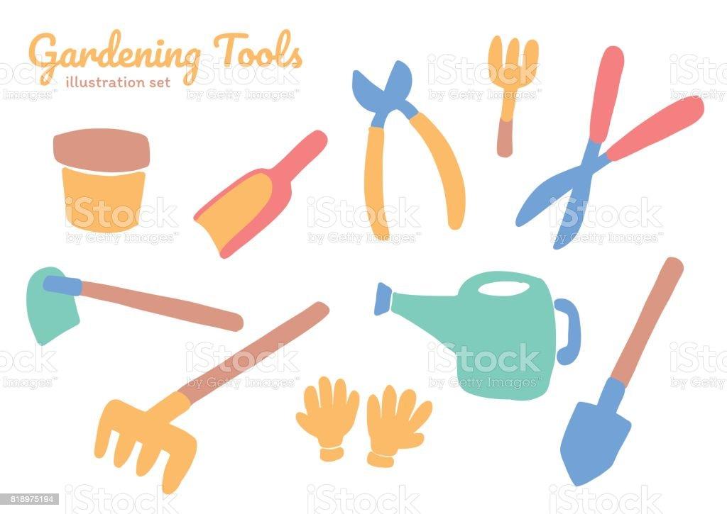 Gardening tools and equipment illustration set vector art illustration