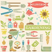 Large vector icon set with color gardening tools, vegetables, flowers and objects for garden decoration. Silhouettes in spring colors with leaf vein texture on beige background. Layered for easy editing.