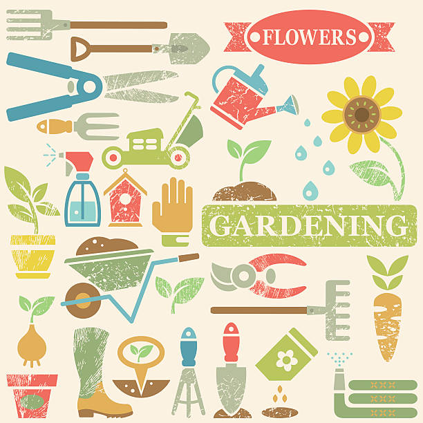 Gardening Tools and Garden Flat Icons Large vector icon set with color gardening tools, vegetables, flowers and objects for garden decoration. Silhouettes in spring colors with leaf vein texture on beige background. Layered for easy editing. garden center stock illustrations