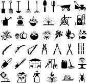 Single colour black icons of gardening equipment