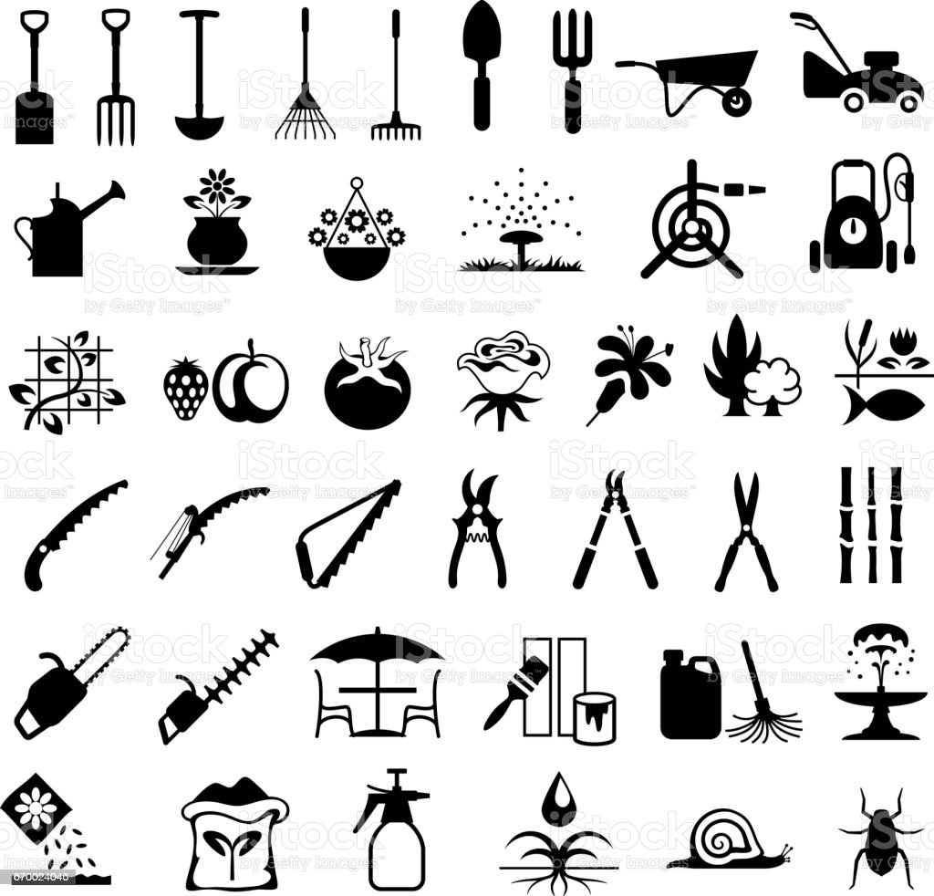 Gardening Tools and Products Icons vector art illustration