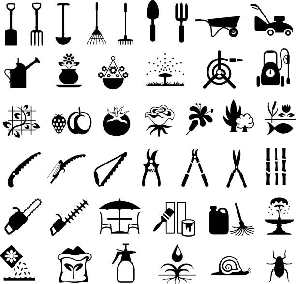 Gardening Tools and Products Icons Single colour black icons of gardening equipment gardening equipment stock illustrations