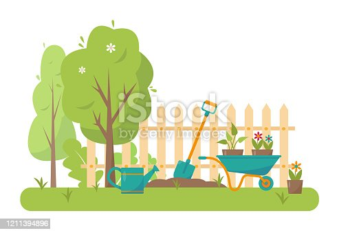 Gardening tools and trees in garden. Spring or summer banner, concept or background vector illustration.