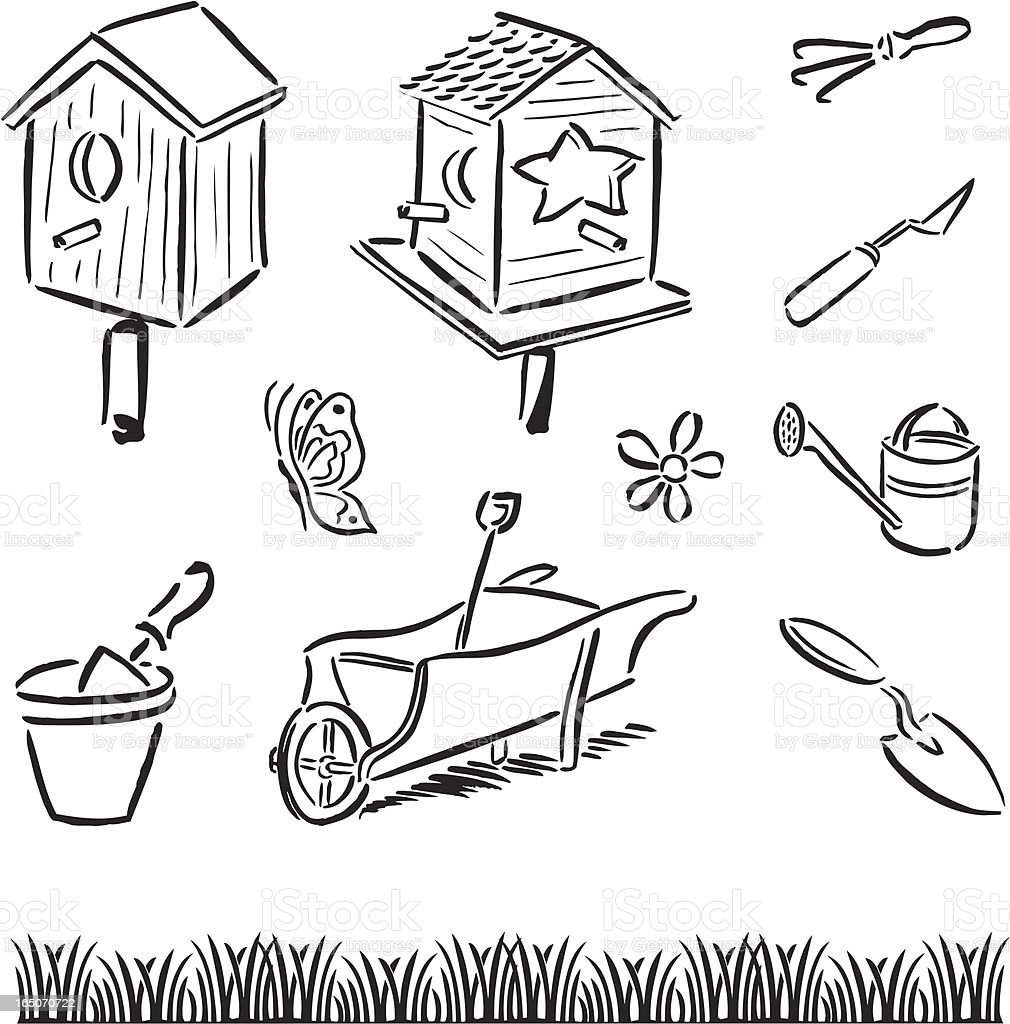 Gardening Tools & Bird Houses royalty-free stock vector art