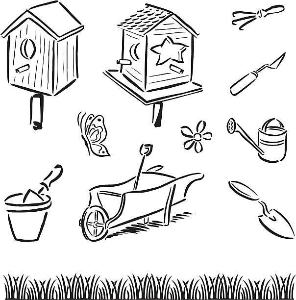 Gardening Tools & Bird Houses vector art illustration