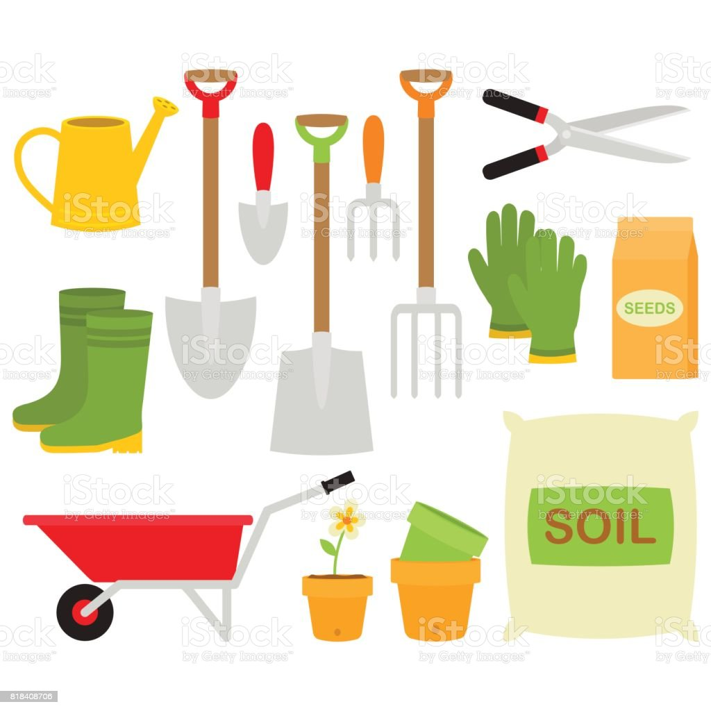Gardening Tools Collection In White Background vector art illustration