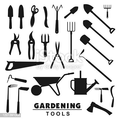 Garden and farming tools silhouette icons, rake and farm fork, gardener equipment. Vector soil cultivating and gardening trowel, tree secateurs, saw and watering can, pitchfork and wheelbarrow