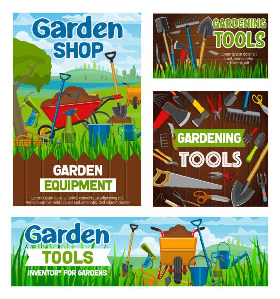 Outils de jardinage, boutique jardin agriculture - Illustration vectorielle