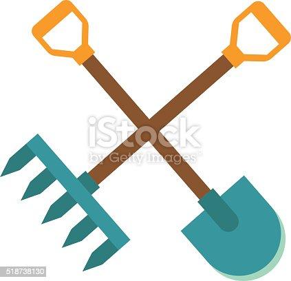 Gardening Tools Icon Flat Graphic Design Farm Organic ...