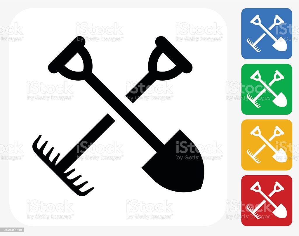 Gardening Tools Icon Flat Graphic Design vector art illustration