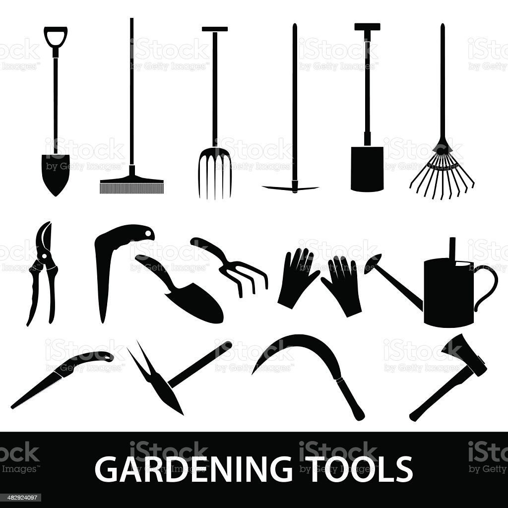 gardening tools icons eps10 vector art illustration