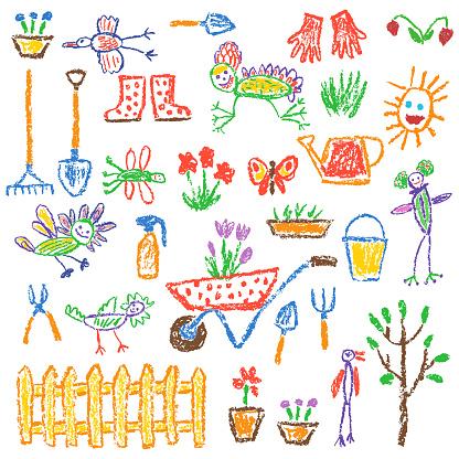 Gardening tools set. Garden or farm instruments. Like child hand drawing equipment.