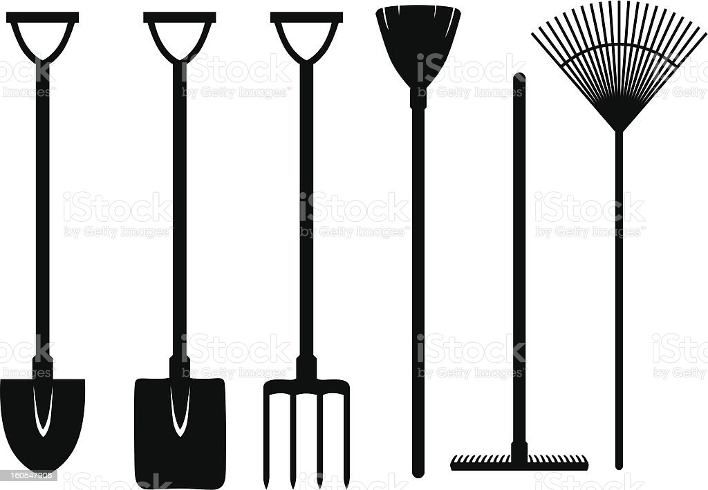 Gardening tools set vector art illustration