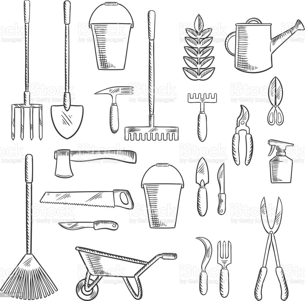 Gardening tools sketches for farming design stock vector for Gardening tools drawing with names