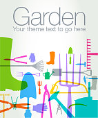 Various Gardening Tools. Uses overlays and transparencies. Can use whole composition or individual elements. Garden, tools, spade, shovel, trowel, garden fork, pruners, secater,