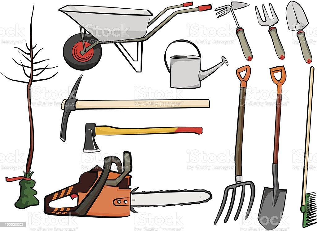 Herramientas de jardiner a arte vectorial de stock y m s for Herramientas de campo