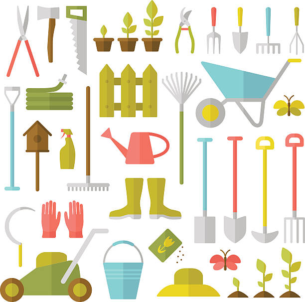 stockillustraties, clipart, cartoons en iconen met gardening tools. - kruiwagen met gereedschap