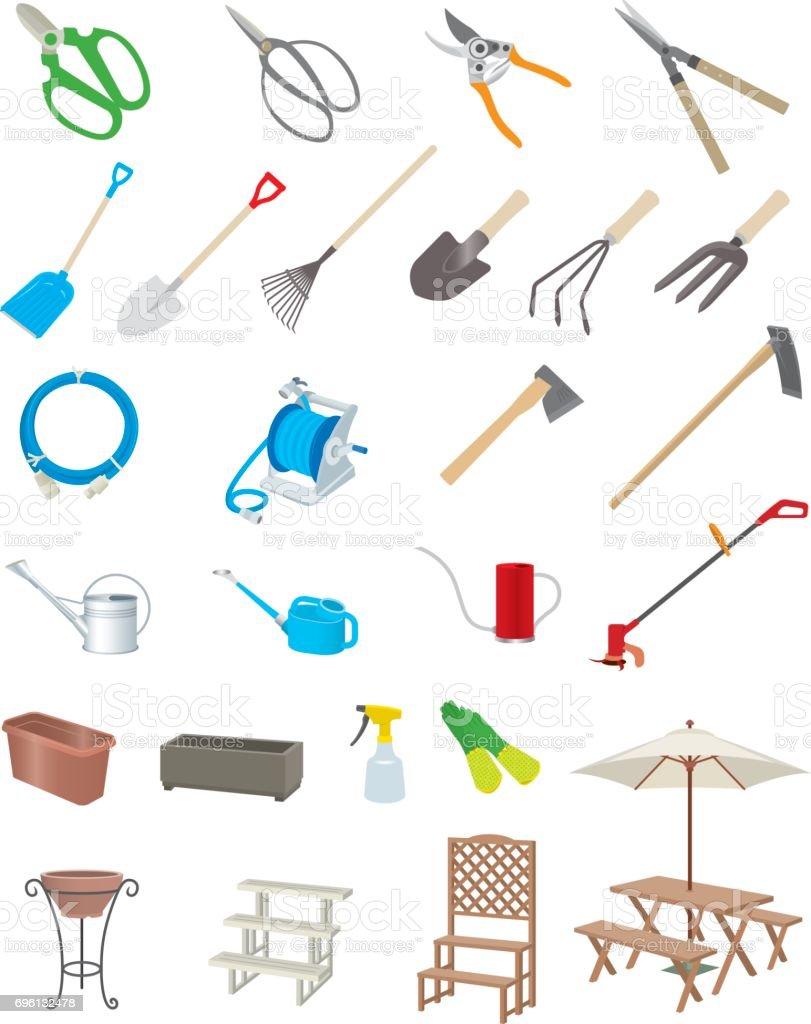 Gardening tools vector art illustration