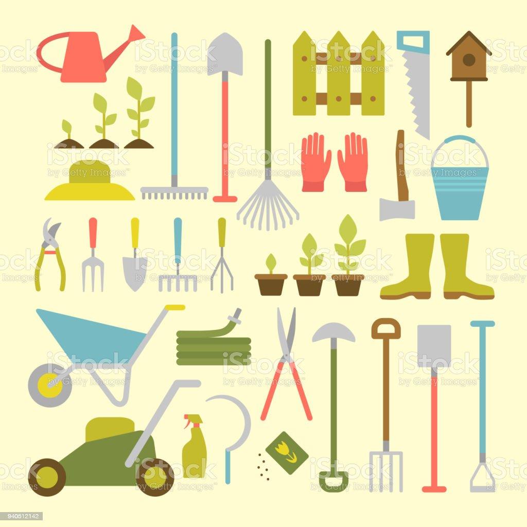 Jardinería herramientas. - ilustración de arte vectorial