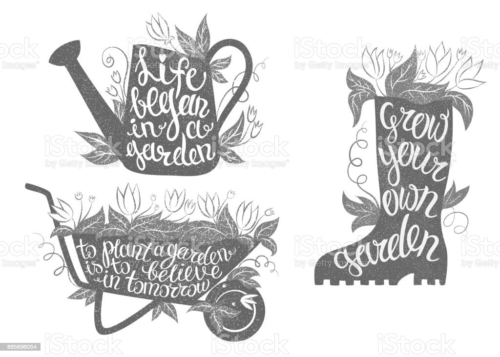 Gardening typography posters set with inspirational quotes. vector art illustration