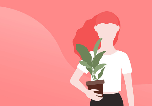 Gardening Vector illustration with copy space in flat design