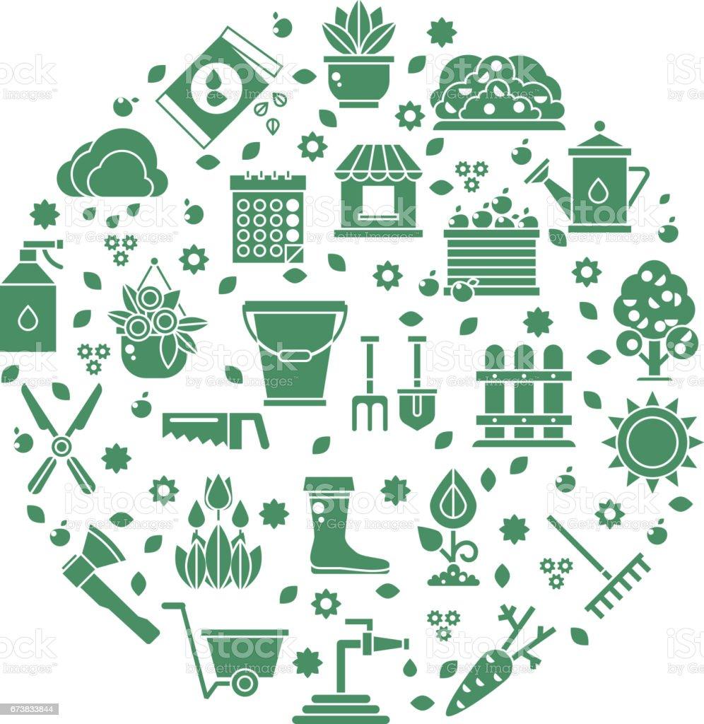 Les Outils De Jardinage Avec Photos logo vectoriel jardinage avec des icônes doutils de jardin vecteurs libres  de droits et plus d'images vectorielles de agriculture