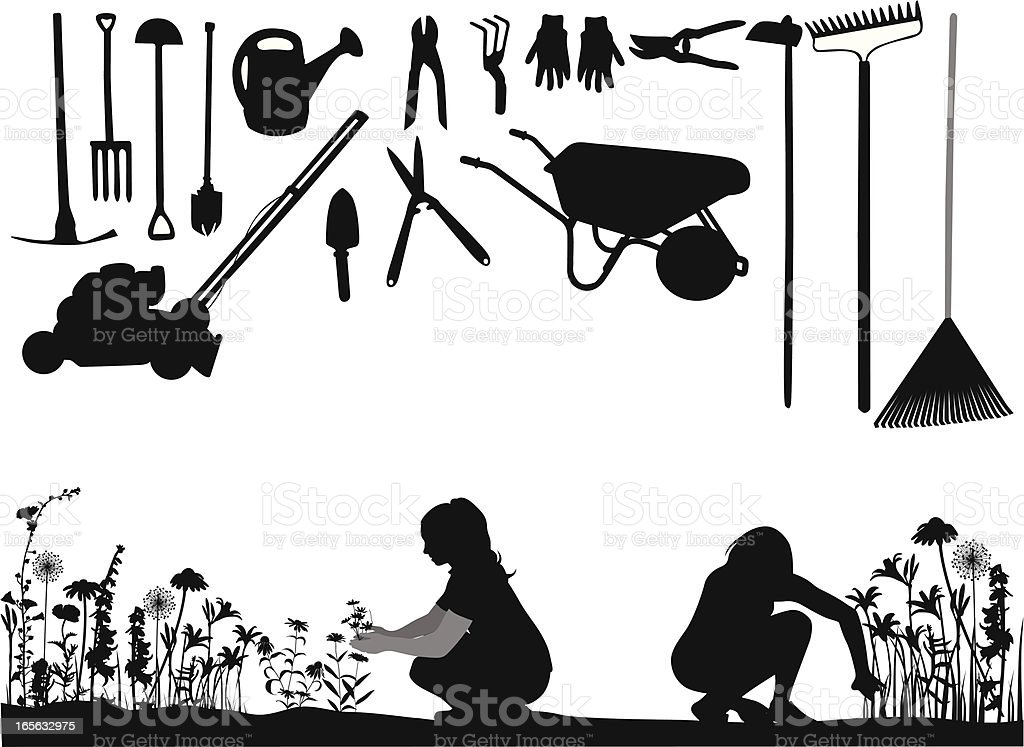 Gardening Vector Silhouette royalty-free stock vector art