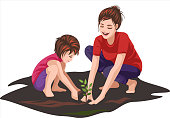 a little girl enjoying gardening with her mother