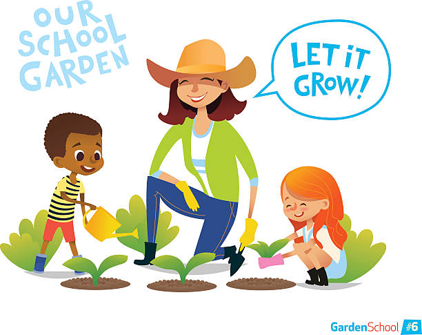 Gardening With Kids Eco Concept Engaging In Montessori Education Activities Vector Art Illustration