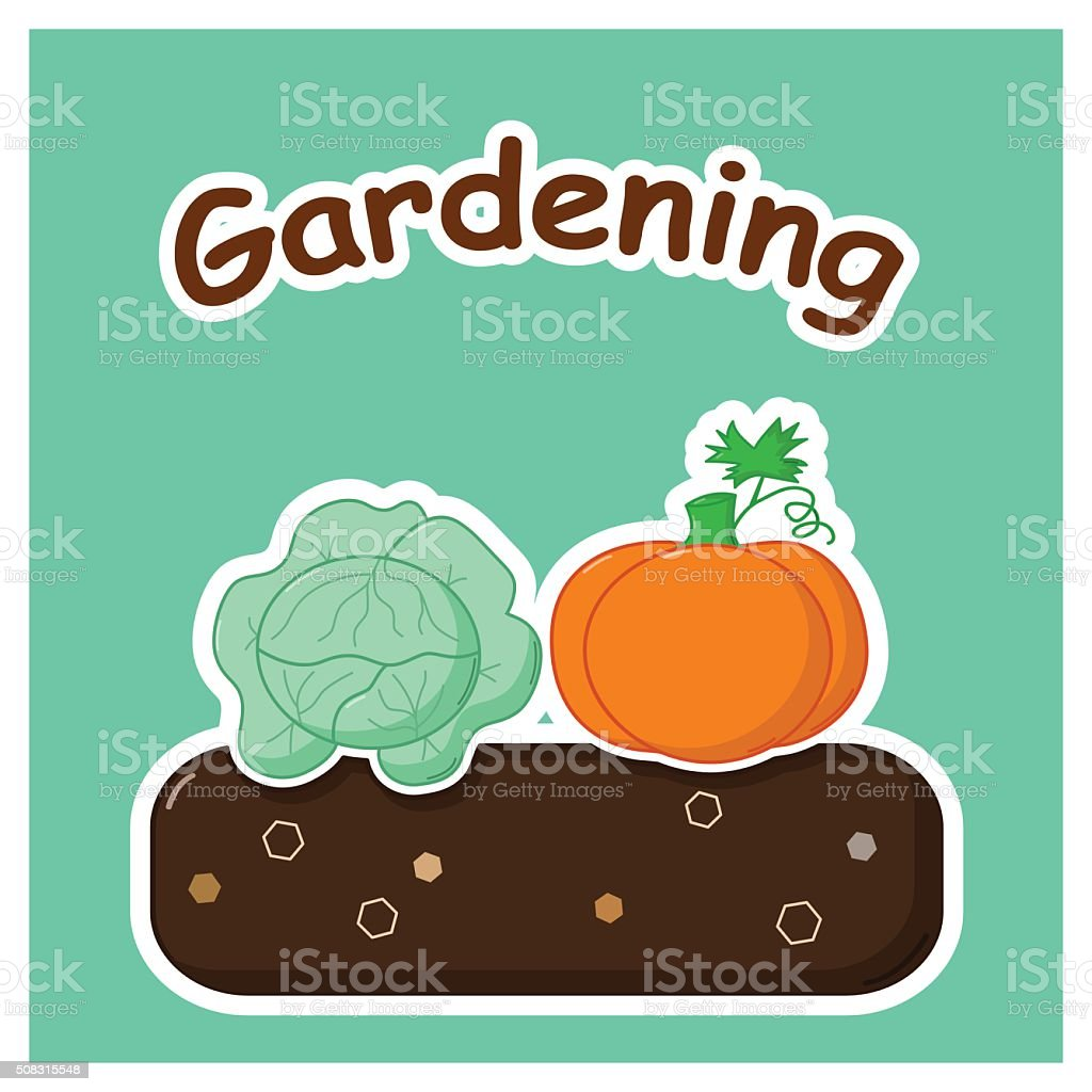 Gardening with vegetables vector art illustration