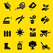 Gardening Yellow Silhouette icons