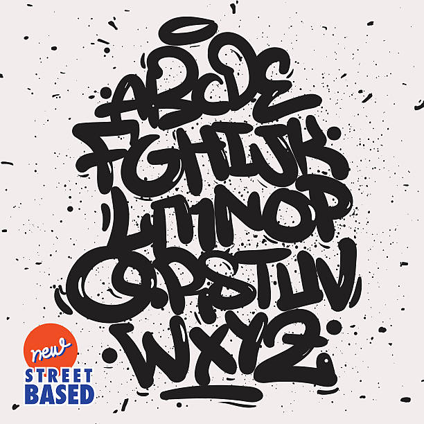 garffiti font - graffiti fonts stock illustrations, clip art, cartoons, & icons