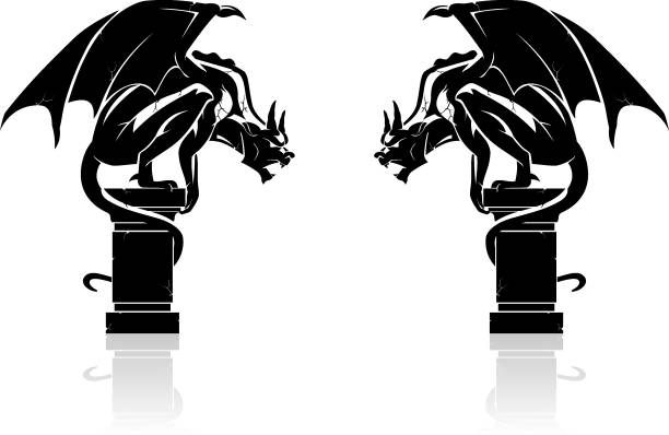 illustrazioni stock, clip art, cartoni animati e icone di tendenza di gargoyle shadow - gargoyle