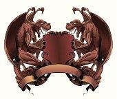 Gargoyles with shield and banner. Heraldic design element.