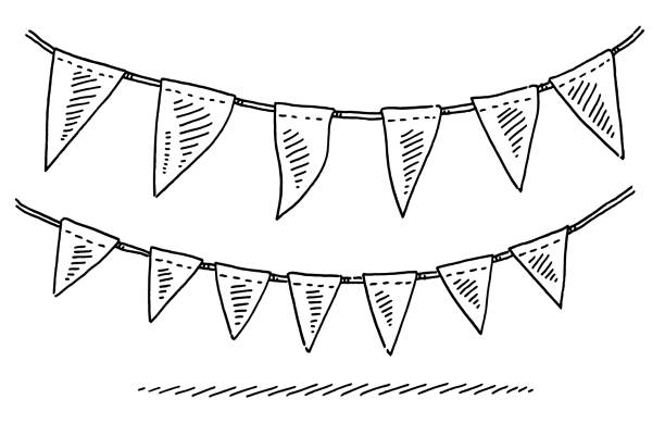 Garland for Celebration with Flags Hand-drawn vector drawing of a Garland for Celebration with Flags. Black-and-White sketch on a transparent background (.eps-file). Included files are EPS (v10) and Hi-Res JPG. celebration stock illustrations