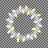 Garland in form of circle with glowing lights isolated on transparent background. Realistic vector design element for Holiday cards, Christmas, New Year, birthday, web banners. Template or mock up