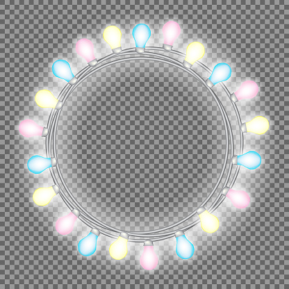 Garland in form of circle with glowing lights isolated on transparent background. Vector design element for Holiday cards, Christmas, New Year, birthday, party. Illuminated banner Template or mock up