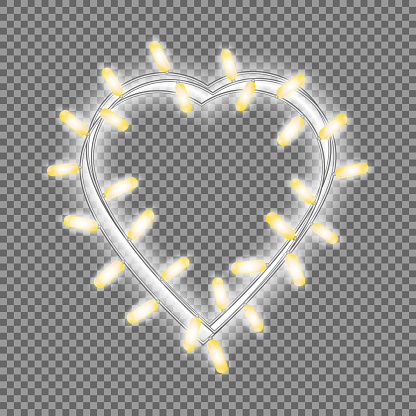 Garland in form of heart with glowing lights isolated on transparent background. Vector design element for Holiday cards, valentine's day Christmas, New Year, birthday, banners. Template or mock up