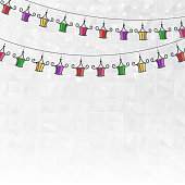 Garland of colored paper lanterns winter abstract background with the effect of crumpled paper, and snowflakes. Vector illustration.