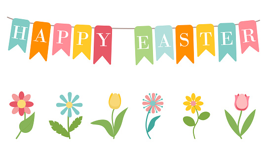 Garland of colorful flags with inscription Happy Easter, isolated on white background