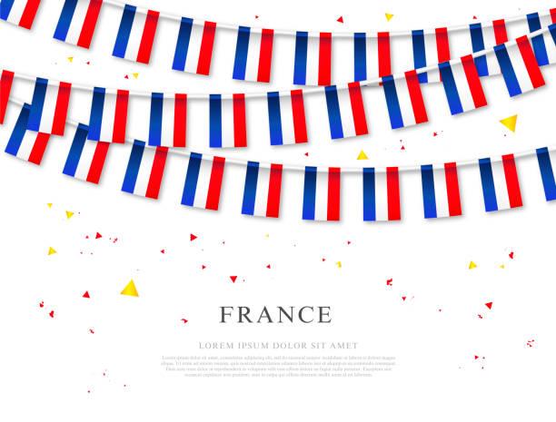 Garland der französischen Fahnen. Unabhängigkeitstag von Frankreich. – Vektorgrafik