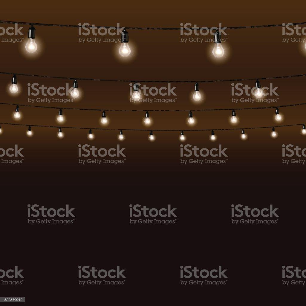 Guirlande de lampes sur fond marron. Illustration vectorielle. - Illustration vectorielle
