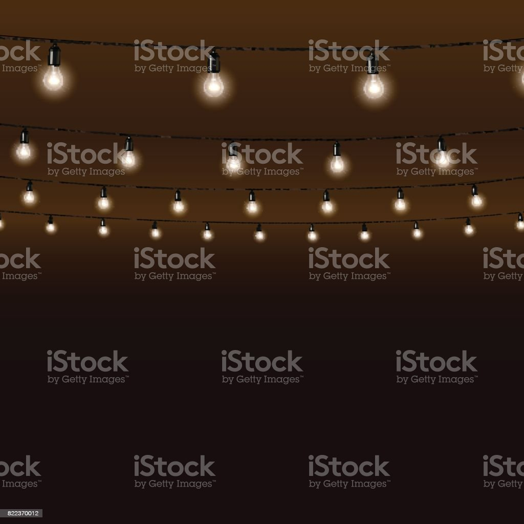 Garland of lamps on brown background. Vector illustration. vector art illustration
