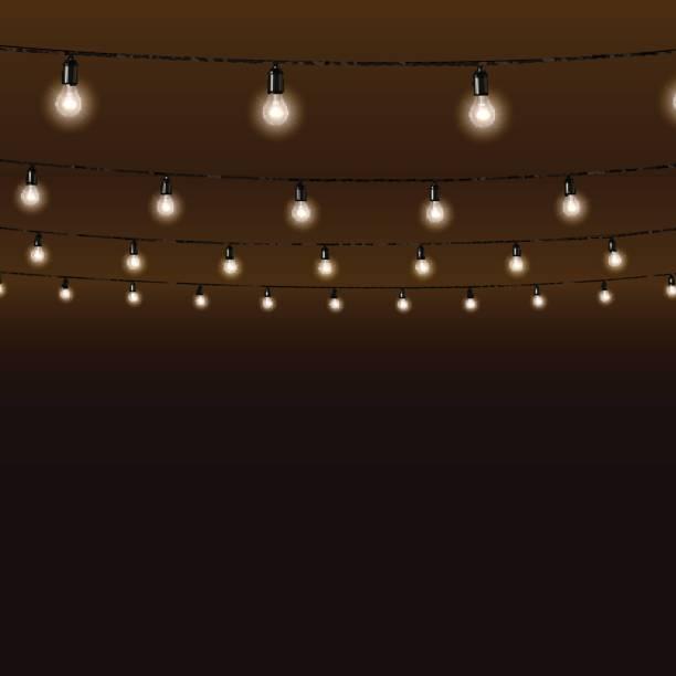 kranz von lampen auf braunem hintergrund. vektor-illustration. - citylight stock-grafiken, -clipart, -cartoons und -symbole