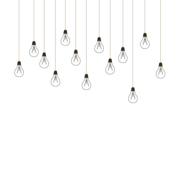 girlande aus drähten mit glühbirnen hängen von der spitze auf weißem hintergrund. vektor-illustration - strickideen stock-grafiken, -clipart, -cartoons und -symbole